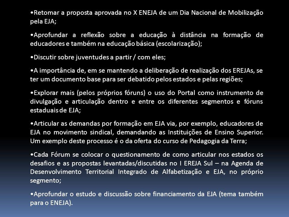 Retomar a proposta aprovada no X ENEJA de um Dia Nacional de Mobilização pela EJA; Aprofundar a reflexão sobre a educação à distância na formação de e