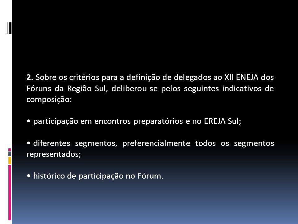 2. Sobre os critérios para a definição de delegados ao XII ENEJA dos Fóruns da Região Sul, deliberou-se pelos seguintes indicativos de composição: par