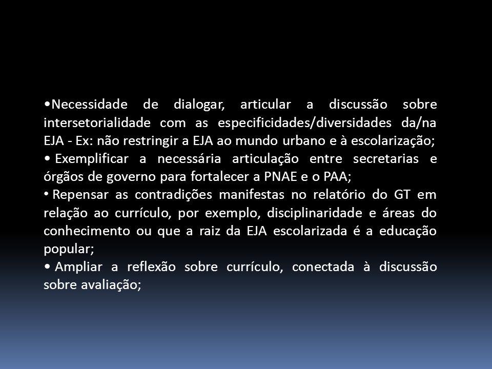 Necessidade de dialogar, articular a discussão sobre intersetorialidade com as especificidades/diversidades da/na EJA - Ex: não restringir a EJA ao mundo urbano e à escolarização; Exemplificar a necessária articulação entre secretarias e órgãos de governo para fortalecer a PNAE e o PAA; Repensar as contradições manifestas no relatório do GT em relação ao currículo, por exemplo, disciplinaridade e áreas do conhecimento ou que a raiz da EJA escolarizada é a educação popular; Ampliar a reflexão sobre currículo, conectada à discussão sobre avaliação;