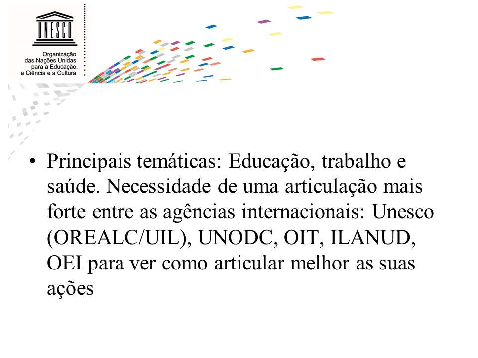 Principais temáticas: Educação, trabalho e saúde. Necessidade de uma articulação mais forte entre as agências internacionais: Unesco (OREALC/UIL), UNO
