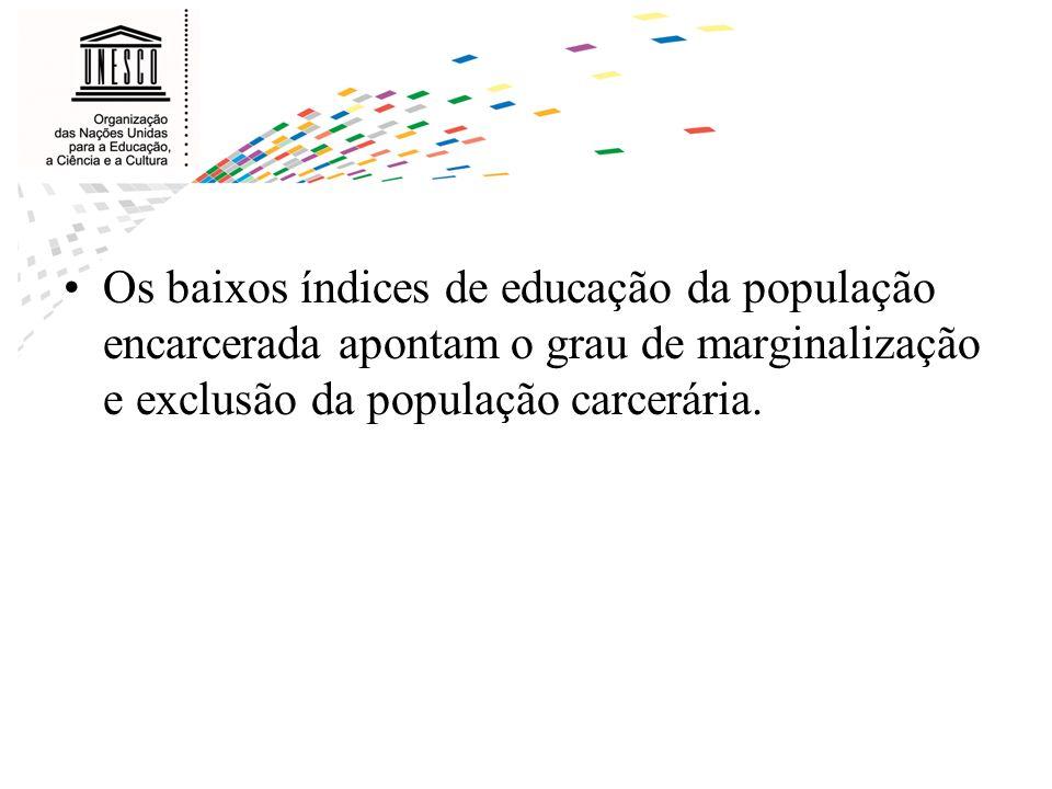 Perfil da população carcerária no Brasil: –95% são pobres; –96% são homens; –mais de 50% têm menos de 30 anos; –70% não completaram o ensino fundamental; –10,5% são analfabetos absolutos; –apenas 18% estão envolvidos em atividades educacionais.