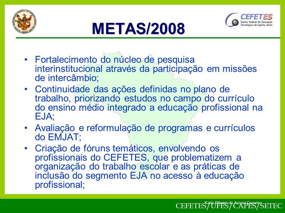 CEFETES/UFES/CAPES/SETEC Karla Ribeiro de Asssis Cezarino Fortalecimento do núcleo de pesquisa interinstitucional através da participação em missões de intercâmbio; Continuidade das ações definidas no plano de trabalho, priorizando estudos no campo do currículo do ensino médio integrado a educação profissional na EJA; Avaliação e reformulação de programas e currículos do EMJAT; Criação de fóruns temáticos, envolvendo os profissionais do CEFETES, que problematizem a organização do trabalho escolar e as práticas de inclusão do segmento EJA no acesso à educação profissional; METAS/2008