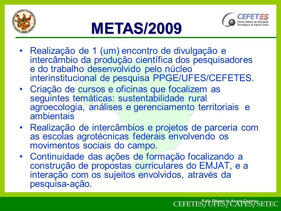 CEFETES/UFES/CAPES/SETEC Karla Ribeiro de Asssis Cezarino Realização de 1 (um) encontro de divulgação e intercâmbio da produção científica dos pesquisadores e do trabalho desenvolvido pelo núcleo interinstitucional de pesquisa PPGE/UFES/CEFETES.