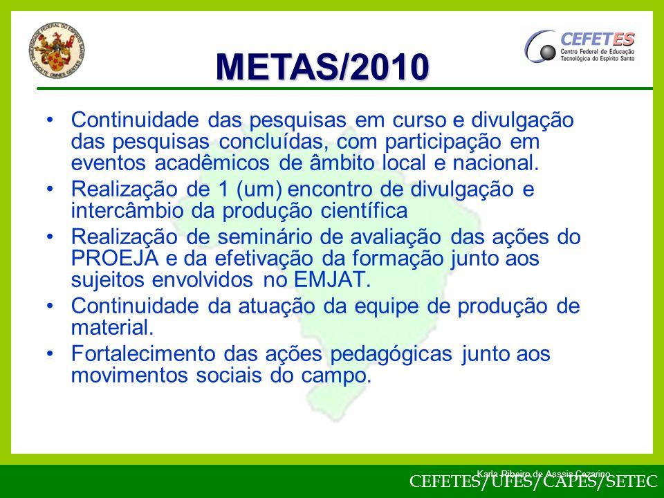 CEFETES/UFES/CAPES/SETEC Karla Ribeiro de Asssis Cezarino Continuidade das pesquisas em curso e divulgação das pesquisas concluídas, com participação em eventos acadêmicos de âmbito local e nacional.