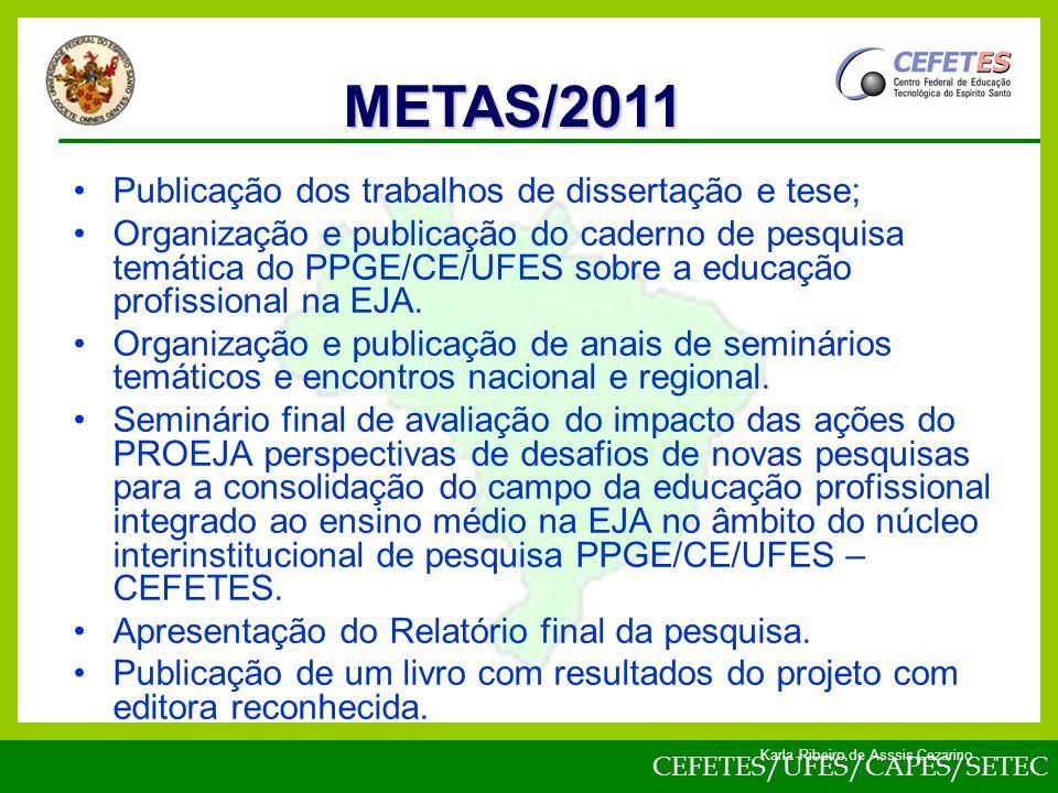 CEFETES/UFES/CAPES/SETEC Karla Ribeiro de Asssis Cezarino Publicação dos trabalhos de dissertação e tese; Organização e publicação do caderno de pesquisa temática do PPGE/CE/UFES sobre a educação profissional na EJA.