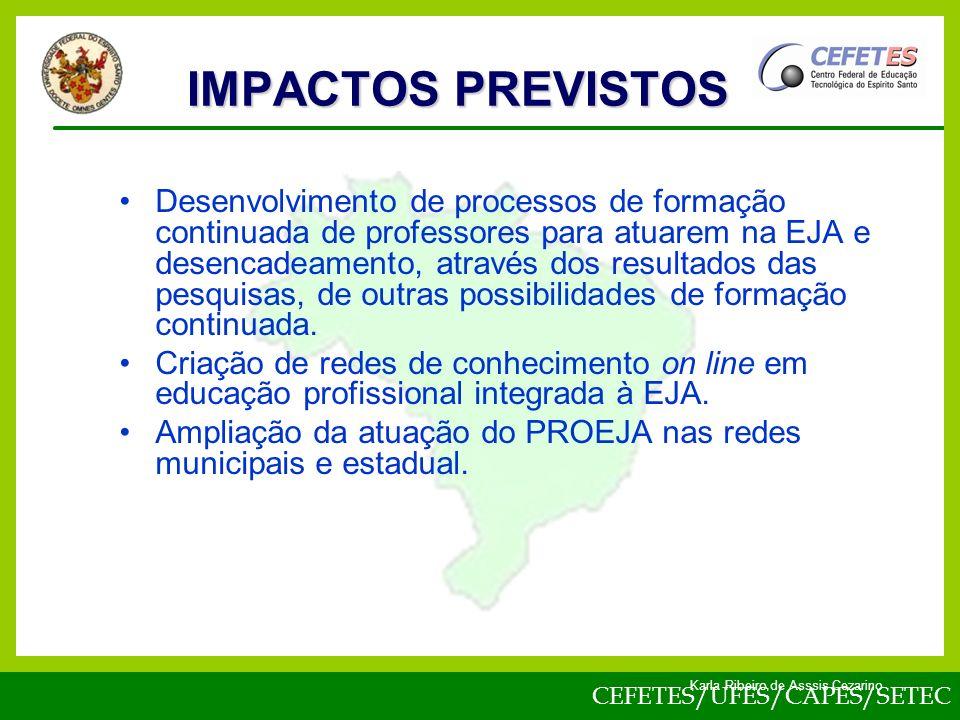 CEFETES/UFES/CAPES/SETEC Karla Ribeiro de Asssis Cezarino Desenvolvimento de processos de formação continuada de professores para atuarem na EJA e desencadeamento, através dos resultados das pesquisas, de outras possibilidades de formação continuada.