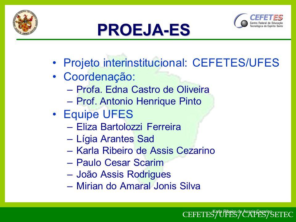 CEFETES/UFES/CAPES/SETEC Karla Ribeiro de Asssis Cezarino Projeto interinstitucional: CEFETES/UFES Coordenação: –Profa.