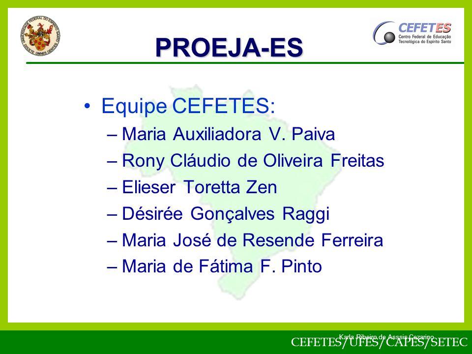 CEFETES/UFES/CAPES/SETEC Karla Ribeiro de Asssis Cezarino Equipe CEFETES: –Maria Auxiliadora V.