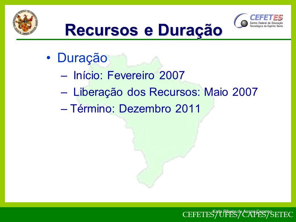 CEFETES/UFES/CAPES/SETEC Karla Ribeiro de Asssis Cezarino Duração – Início: Fevereiro 2007 – Liberação dos Recursos: Maio 2007 –Término: Dezembro 2011 Recursos e Duração