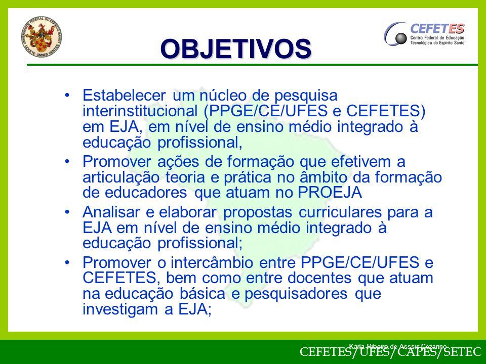 CEFETES/UFES/CAPES/SETEC Karla Ribeiro de Asssis Cezarino Estabelecer um núcleo de pesquisa interinstitucional (PPGE/CE/UFES e CEFETES) em EJA, em nível de ensino médio integrado à educação profissional, Promover ações de formação que efetivem a articulação teoria e prática no âmbito da formação de educadores que atuam no PROEJA Analisar e elaborar propostas curriculares para a EJA em nível de ensino médio integrado à educação profissional; Promover o intercâmbio entre PPGE/CE/UFES e CEFETES, bem como entre docentes que atuam na educação básica e pesquisadores que investigam a EJA; OBJETIVOS