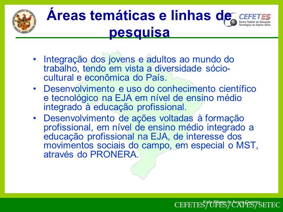 CEFETES/UFES/CAPES/SETEC Karla Ribeiro de Asssis Cezarino Integração dos jovens e adultos ao mundo do trabalho, tendo em vista a diversidade sócio- cultural e econômica do País.