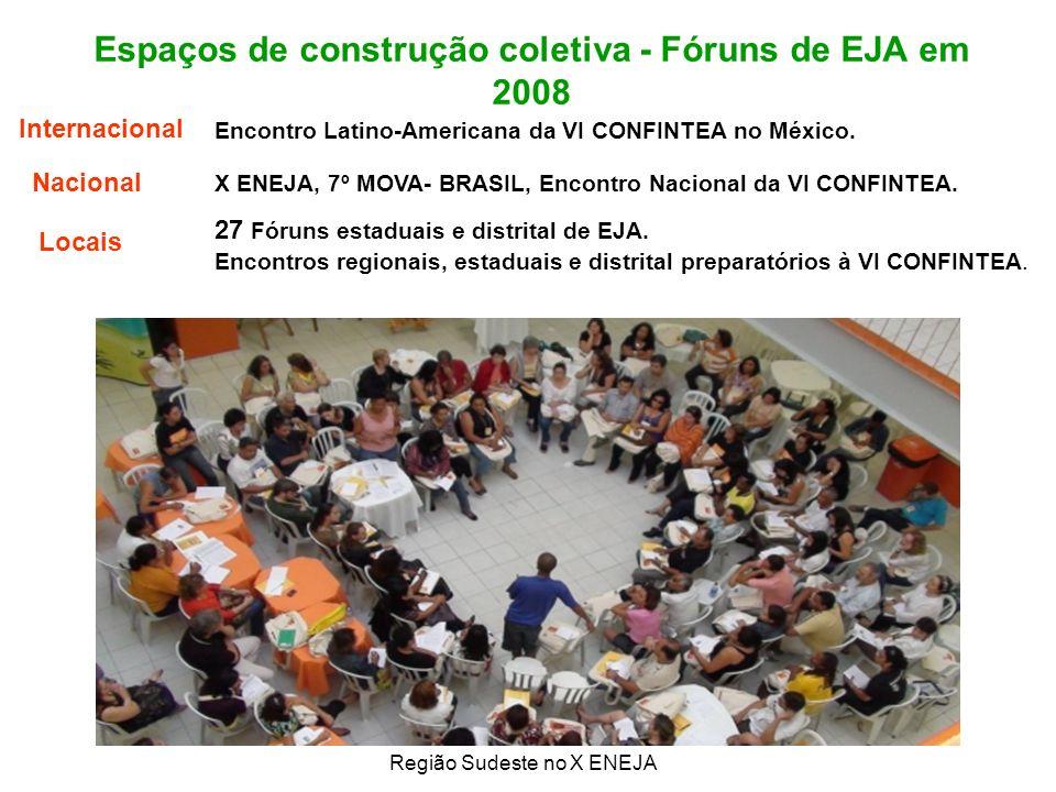 Espaços de construção coletiva - Fóruns de EJA em 2008 Região Sudeste no X ENEJA 27 Fóruns estaduais e distrital de EJA.