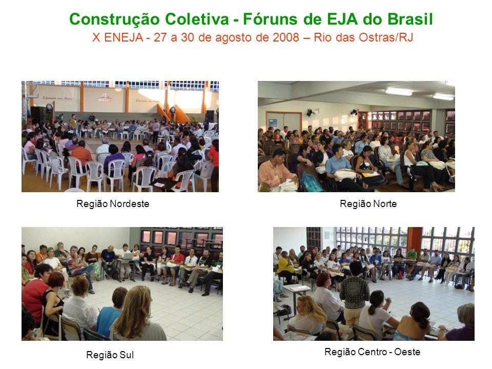 Região NordesteRegião Norte Região Centro - Oeste Região Sul Construção Coletiva - Fóruns de EJA do Brasil X ENEJA - 27 a 30 de agosto de 2008 – Rio das Ostras/RJ
