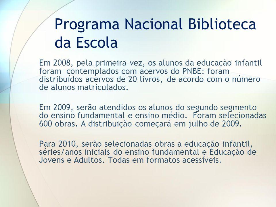 Em 2008, pela primeira vez, os alunos da educação infantil foram contemplados com acervos do PNBE: foram distribuídos acervos de 20 livros, de acordo