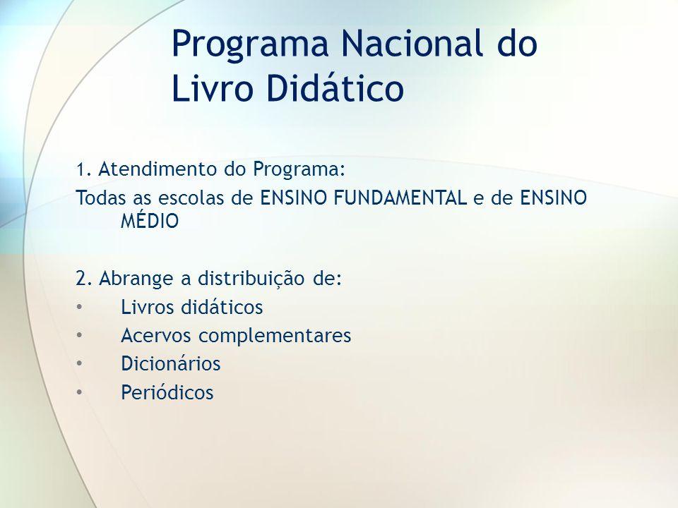 1. Atendimento do Programa: Todas as escolas de ENSINO FUNDAMENTAL e de ENSINO MÉDIO 2. Abrange a distribuição de: Livros didáticos Acervos complement