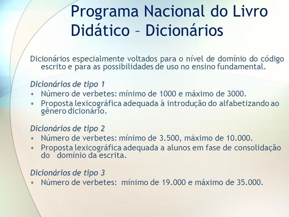 Programa Nacional do Livro Didático – Dicionários Dicionários especialmente voltados para o nível de domínio do código escrito e para as possibilidade