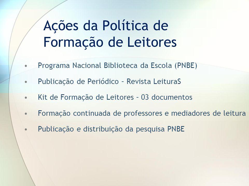 Ações da Política de Formação de Leitores Programa Nacional Biblioteca da Escola (PNBE) Publicação de Periódico – Revista LeituraS Kit de Formação de