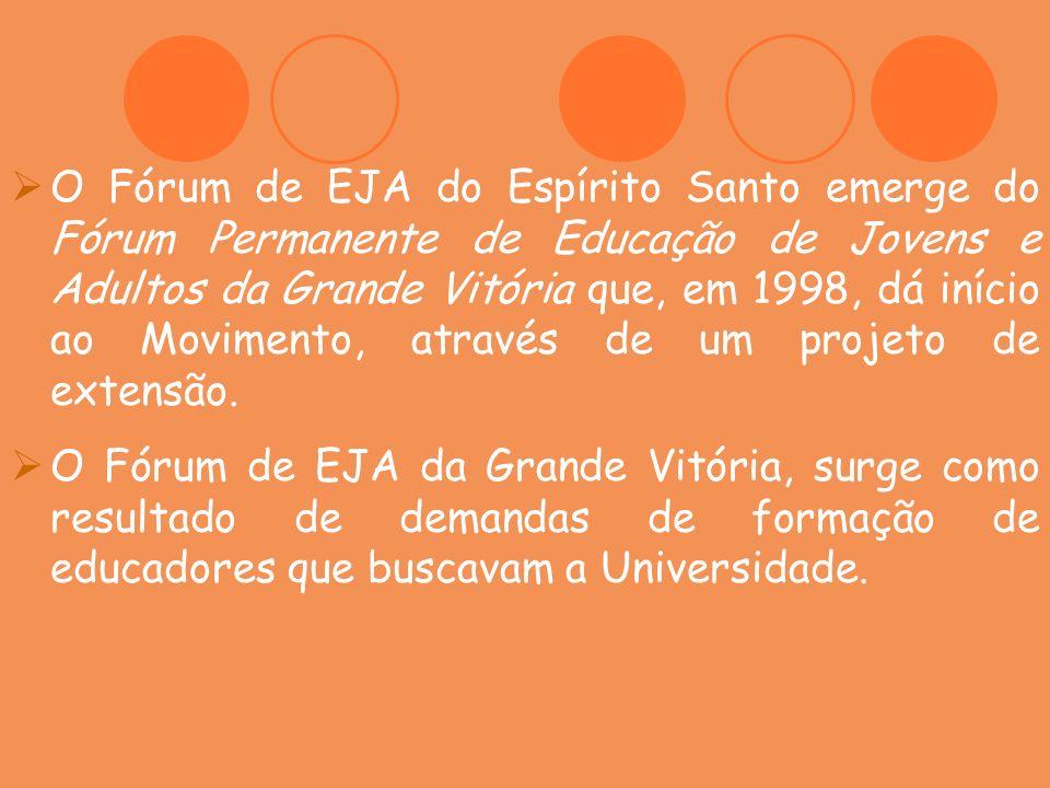 O Fórum de EJA do Espírito Santo emerge do Fórum Permanente de Educação de Jovens e Adultos da Grande Vitória que, em 1998, dá início ao Movimento, at