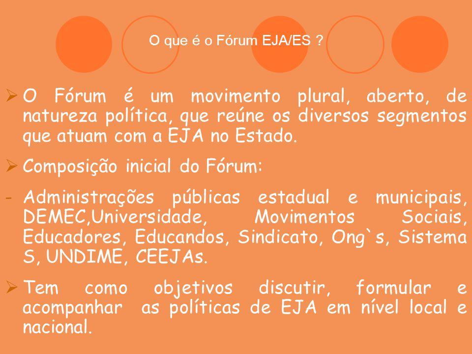 O que é o Fórum EJA/ES ? O Fórum é um movimento plural, aberto, de natureza política, que reúne os diversos segmentos que atuam com a EJA no Estado. C