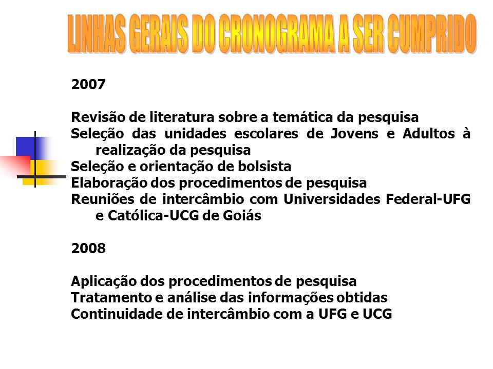 2007 Revisão de literatura sobre a temática da pesquisa Seleção das unidades escolares de Jovens e Adultos à realização da pesquisa Seleção e orientaç