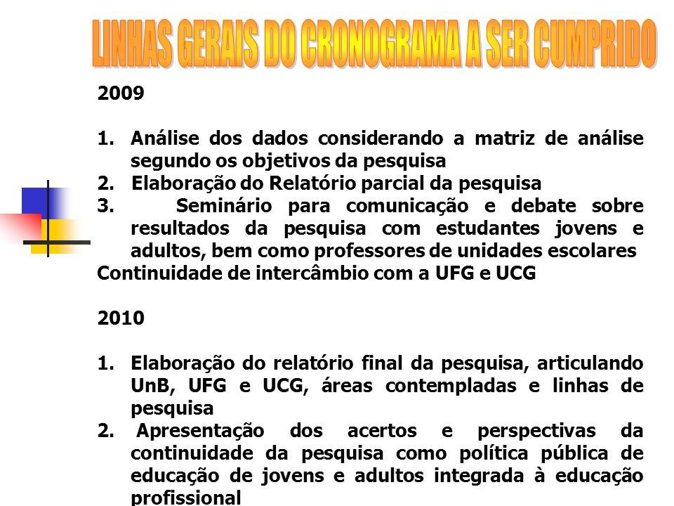 2009 1.Análise dos dados considerando a matriz de análise segundo os objetivos da pesquisa 2. Elaboração do Relatório parcial da pesquisa 3. Seminário