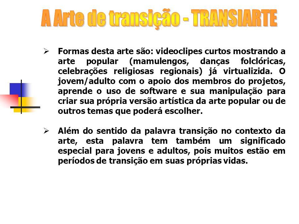 Formas desta arte são: videoclipes curtos mostrando a arte popular (mamulengos, danças folclóricas, celebrações religiosas regionais) já virtualizida.