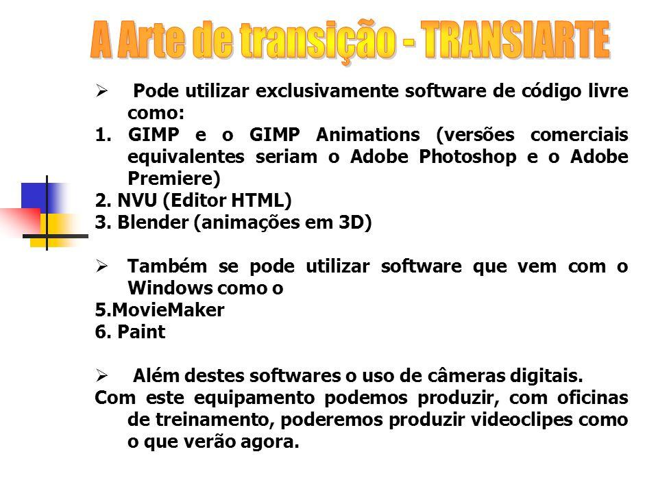 Pode utilizar exclusivamente software de código livre como: 1. GIMP e o GIMP Animations (versões comerciais equivalentes seriam o Adobe Photoshop e o