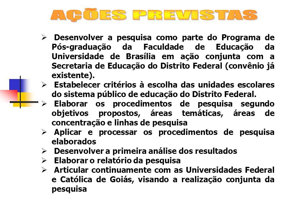 Desenvolver a pesquisa como parte do Programa de Pós-graduação da Faculdade de Educação da Universidade de Brasília em ação conjunta com a Secretaria