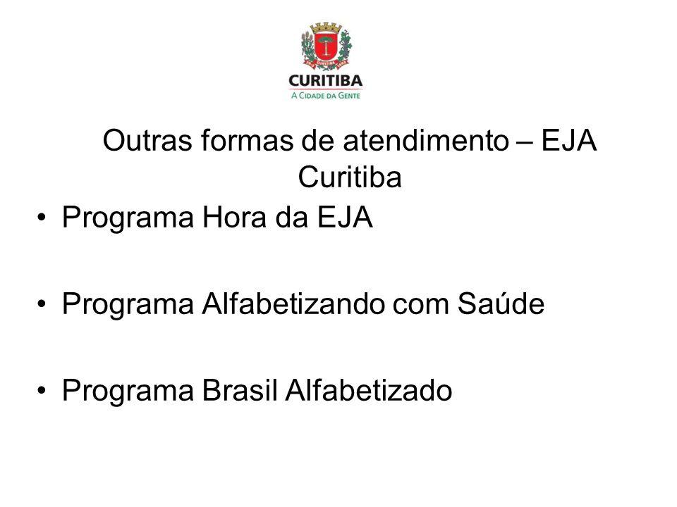 Outras formas de atendimento – EJA Curitiba Programa Hora da EJA Programa Alfabetizando com Saúde Programa Brasil Alfabetizado