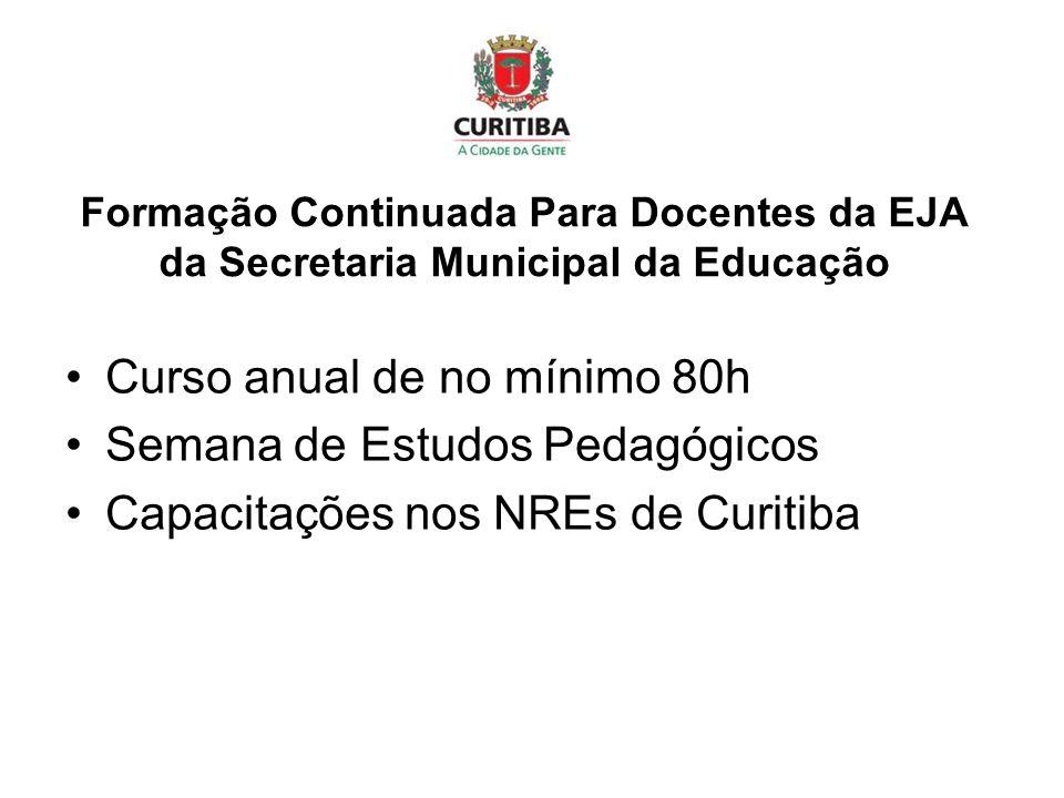 Formação Continuada Para Docentes da EJA da Secretaria Municipal da Educação Curso anual de no mínimo 80h Semana de Estudos Pedagógicos Capacitações nos NREs de Curitiba
