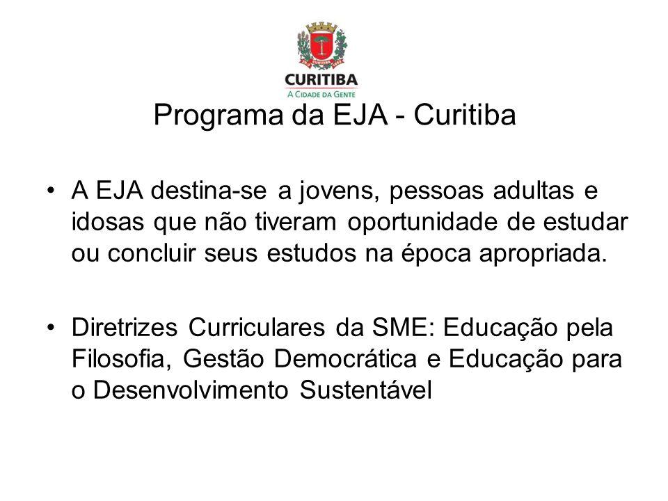 Programa da EJA - Curitiba A EJA destina-se a jovens, pessoas adultas e idosas que não tiveram oportunidade de estudar ou concluir seus estudos na época apropriada.