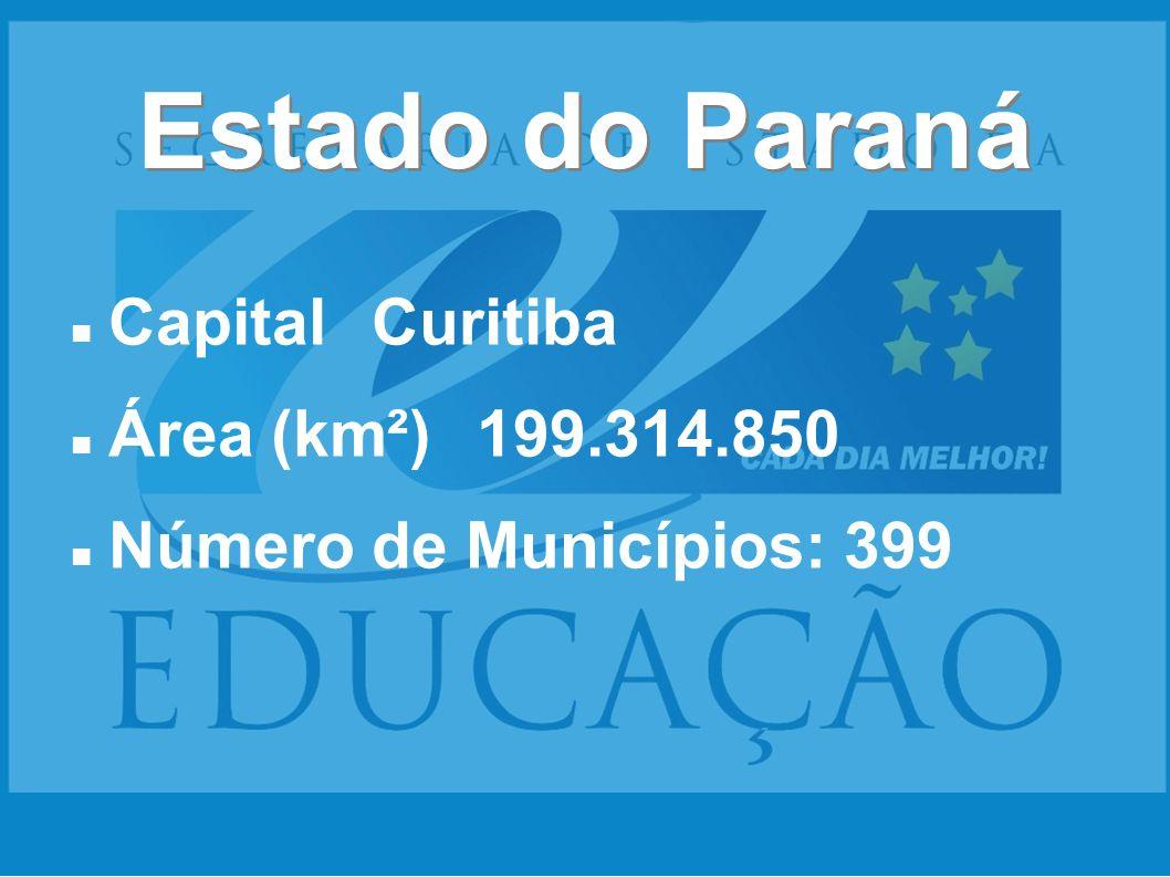 Estado do Paraná CapitalCuritiba Área (km²)199.314.850 Número de Municípios: 399