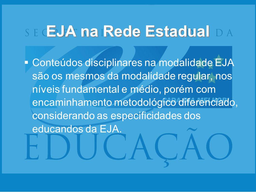 Conteúdos disciplinares na modalidade EJA são os mesmos da modalidade regular, nos níveis fundamental e médio, porém com encaminhamento metodológico d