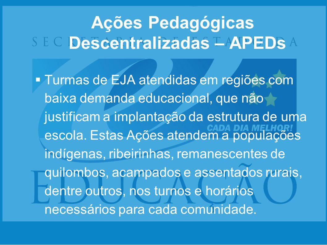 Ações Pedagógicas Descentralizadas – APEDs Turmas de EJA atendidas em regiões com baixa demanda educacional, que não justificam a implantação da estru