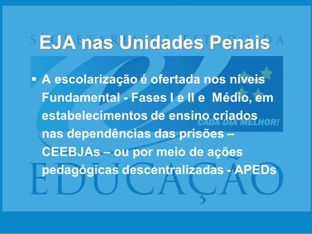 EJA nas Unidades Penais A escolarização é ofertada nos níveis Fundamental - Fases I e II e Médio, em estabelecimentos de ensino criados nas dependênci