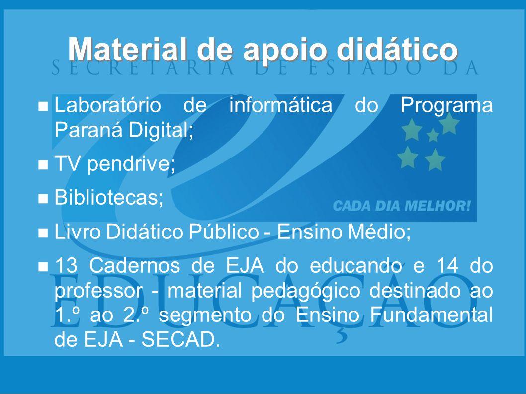 Material de apoio didático Laboratório de informática do Programa Paraná Digital; TV pendrive; Bibliotecas; Livro Didático Público - Ensino Médio; 13