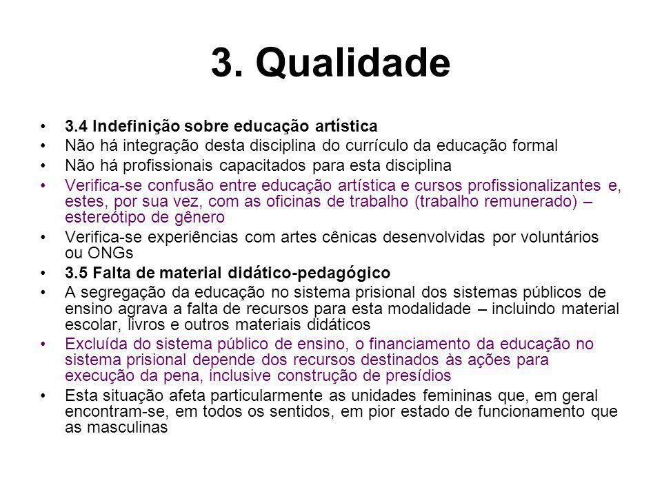3. Qualidade 3.4 Indefinição sobre educação artística Não há integração desta disciplina do currículo da educação formal Não há profissionais capacita
