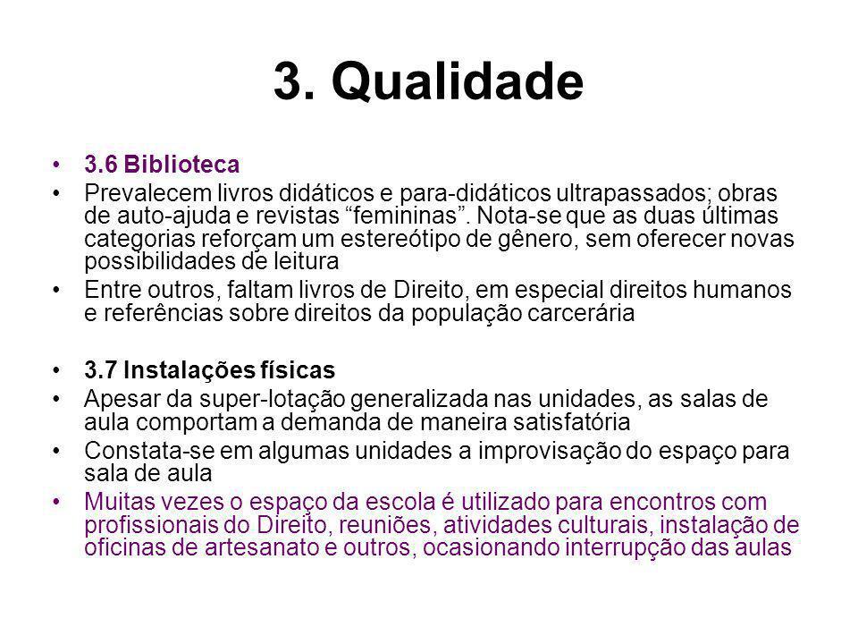 3. Qualidade 3.6 Biblioteca Prevalecem livros didáticos e para-didáticos ultrapassados; obras de auto-ajuda e revistas femininas. Nota-se que as duas