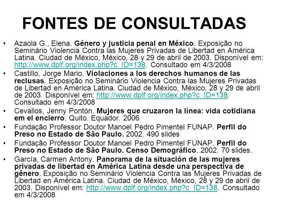 FONTES DE CONSULTADAS Azaola G., Elena. Género y justicia penal en México. Exposição no Seminário Violencia Contra las Mujeres Privadas de Libertad en
