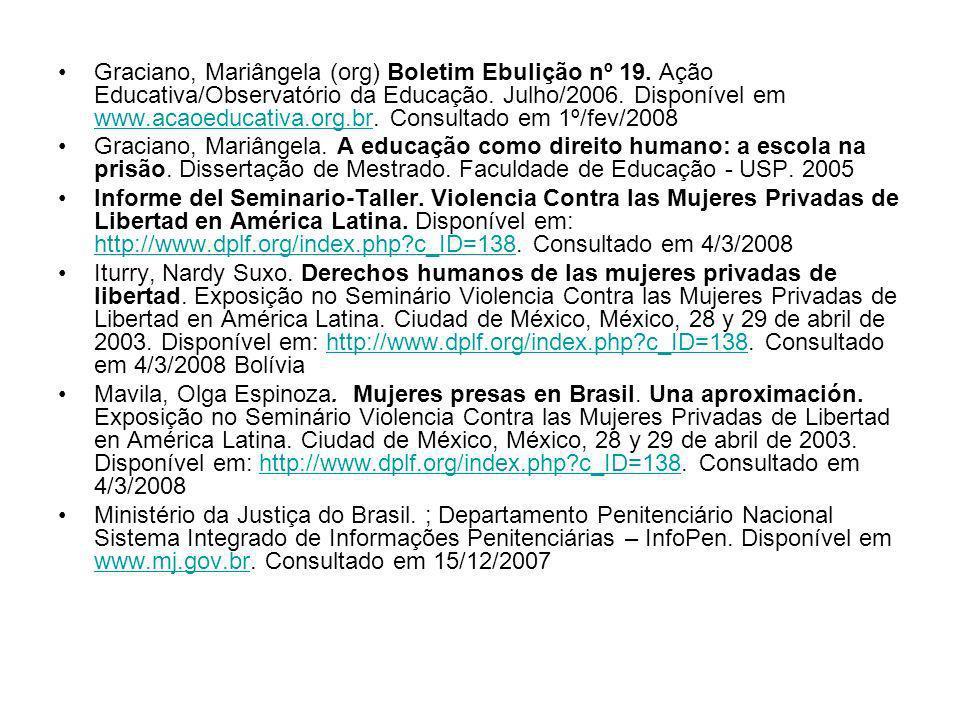Graciano, Mariângela (org) Boletim Ebulição nº 19. Ação Educativa/Observatório da Educação. Julho/2006. Disponível em www.acaoeducativa.org.br. Consul