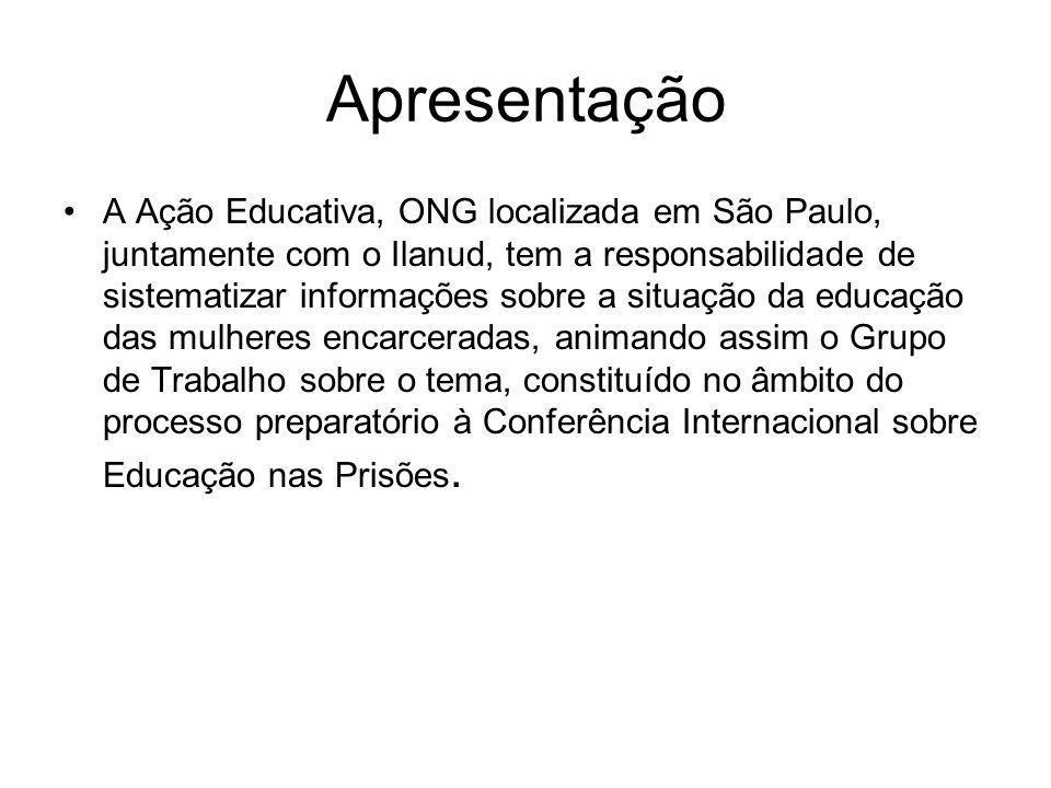 Apresentação A Ação Educativa, ONG localizada em São Paulo, juntamente com o Ilanud, tem a responsabilidade de sistematizar informações sobre a situaç
