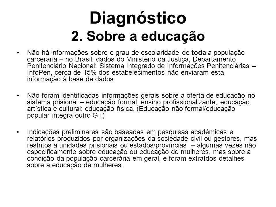Diagnóstico 2. Sobre a educação Não há informações sobre o grau de escolaridade de toda a população carcerária – no Brasil: dados do Ministério da Jus