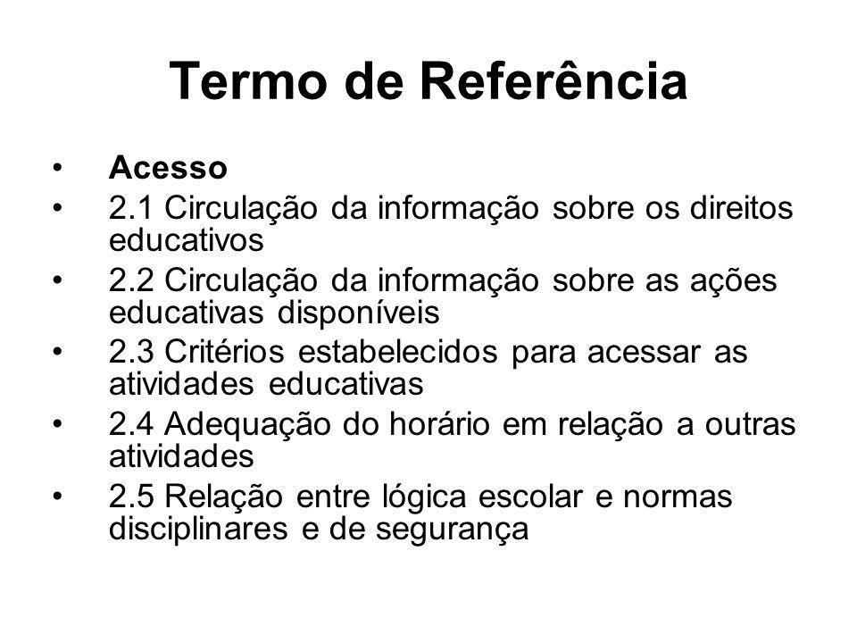 Termo de Referência Acesso 2.1 Circulação da informação sobre os direitos educativos 2.2 Circulação da informação sobre as ações educativas disponívei
