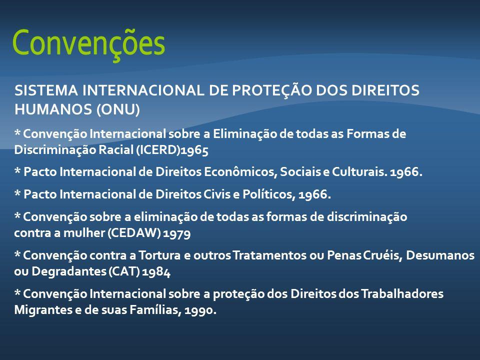 SISTEMA INTERNACIONAL DE PROTEÇÃO DOS DIREITOS HUMANOS (ONU) * Convenção Internacional sobre a Eliminação de todas as Formas de Discriminação Racial (