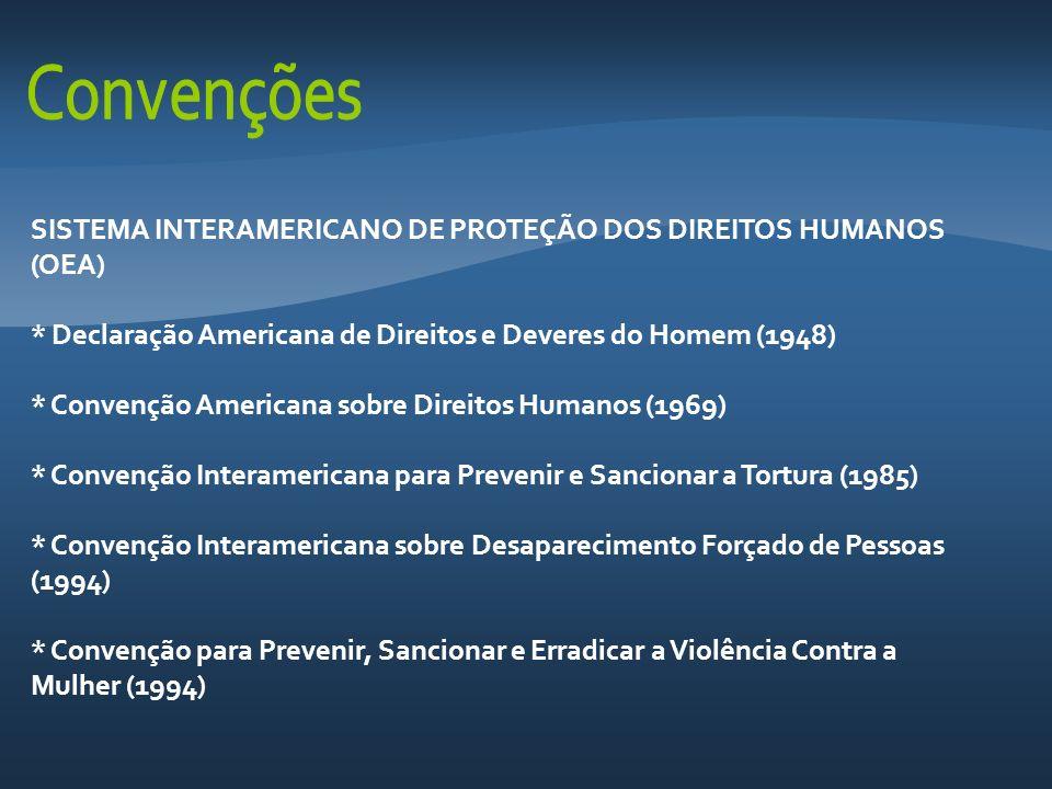 SISTEMA INTERAMERICANO DE PROTEÇÃO DOS DIREITOS HUMANOS (OEA) * Declaração Americana de Direitos e Deveres do Homem (1948) * Convenção Americana sobre