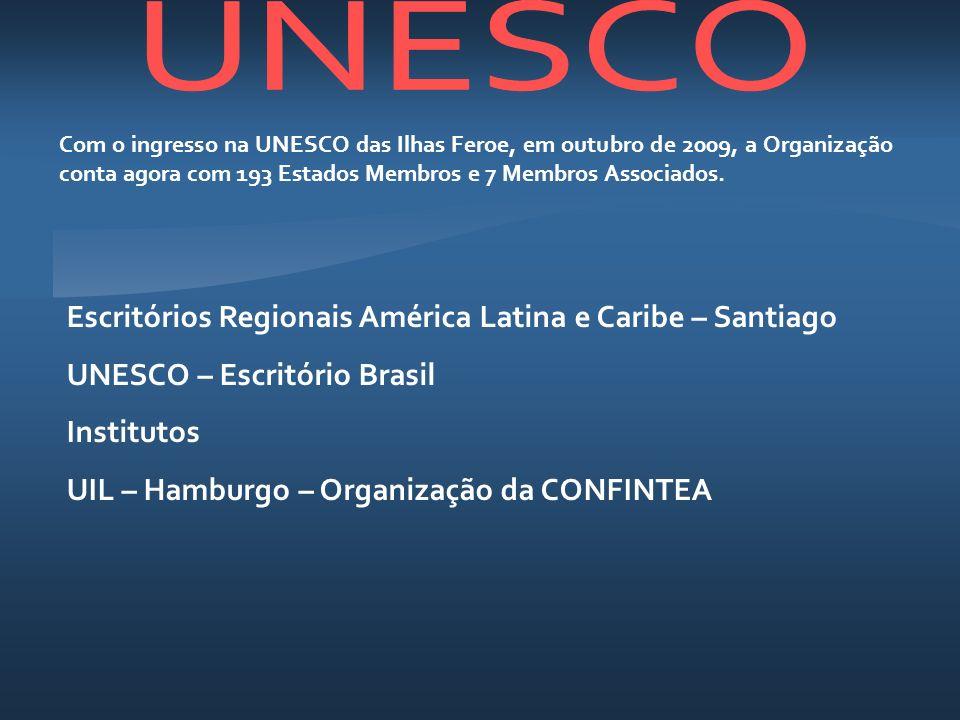 Com o ingresso na UNESCO das Ilhas Feroe, em outubro de 2009, a Organização conta agora com 193 Estados Membros e 7 Membros Associados. Escritórios Re