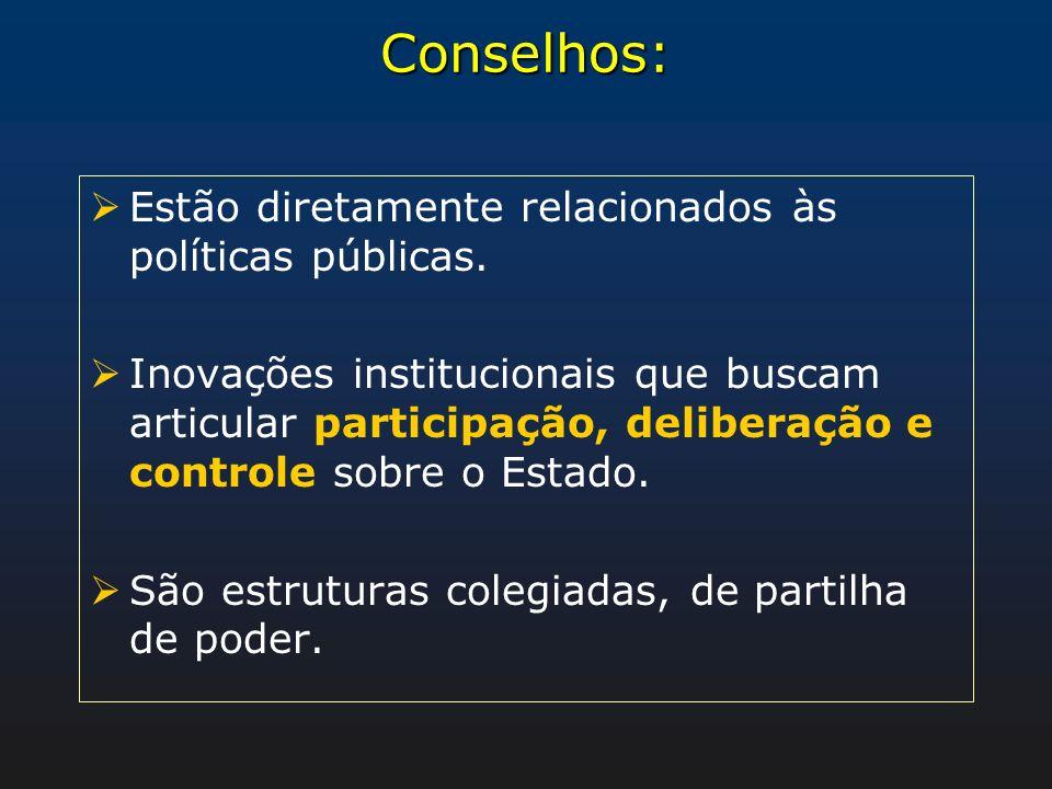 Conselhos: Estão diretamente relacionados às políticas públicas. Inovações institucionais que buscam articular participação, deliberação e controle so