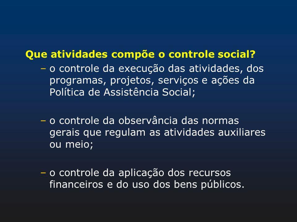 Que atividades compõe o controle social? –o controle da execução das atividades, dos programas, projetos, serviços e ações da Política de Assistência
