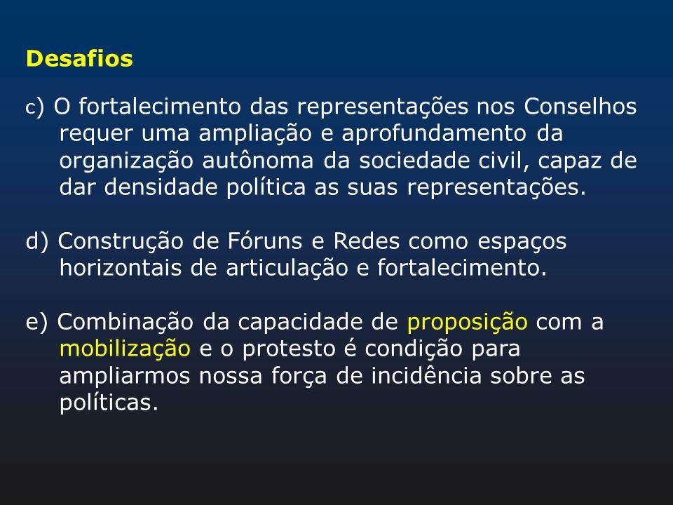 Desafios c ) O fortalecimento das representações nos Conselhos requer uma ampliação e aprofundamento da organização autônoma da sociedade civil, capaz