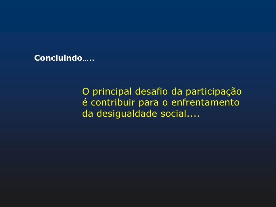 Concluindo….. O principal desafio da participação é contribuir para o enfrentamento da desigualdade social....